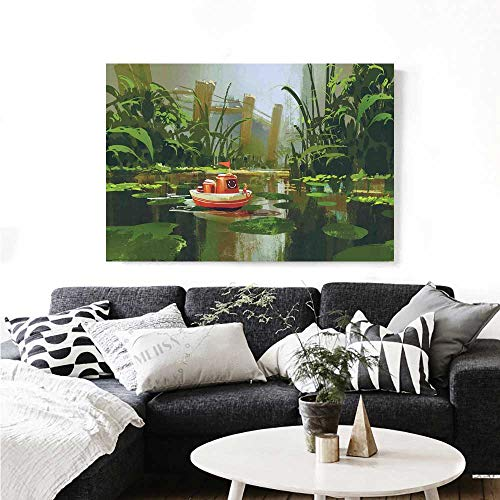 7f5731b90df Fantasy Modern Canvas Painting Wall Art Toy Boat with Smile Face Robot  Sailing on River Forest