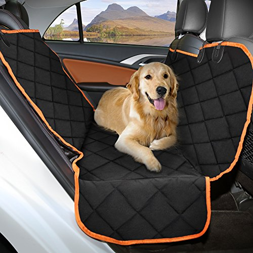 Ymiko Dog Seat Cover, Car Back Seat Covers for Dogs, 600D Heavy Duty Waterproof Scratch Proof, Nonslip Backing Hammock Convertible Pet Seat Cover for Cars, SUVs, Trucks