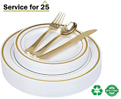 125 Piece Gold Plastic Place Setting Set Service for 25 with Gold Silverware - Disposable & Heavy Duty Includes: 25 Dinner Plates, 25 Dessert Plates, 25 Forks, 25 Knives, 25 Spoons - Stock Your Home