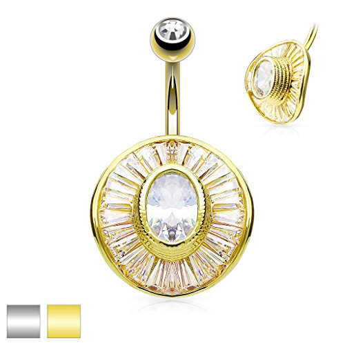Dynamique Oval CZ Center and Princess Cut CZ Paved Round Shield 316L Surgical Steel Belly Button Ring