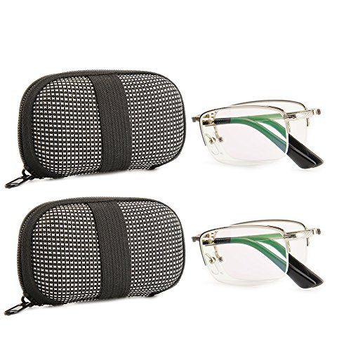 Gudzws Foldable Readers Folding Reading Glasses Sturdy Metal Silver Half Frame Portable Zip Cases,Coated Green Lens for Keeping Eyes Comfortable Unisex 2 Pairs/Pack +1.50