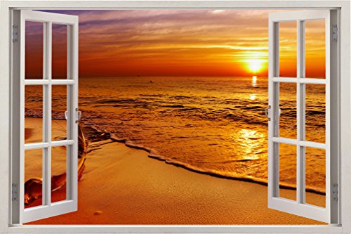 Bomba-Deal Realistic Window Wall Decal – Peel Stick Nautical Decor Living Room, Bedroom, Office, Playroom – Beach Wall Murals Removable Window Frame Style Ocean Wall Art – Vinyl Poster Wall Stickers by Bomba-Deal