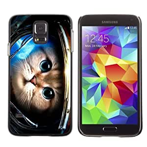 Licase Hard Protective Case Skin Cover for Samsung Galaxy S5 - Cute Astronaut Kitty Cat