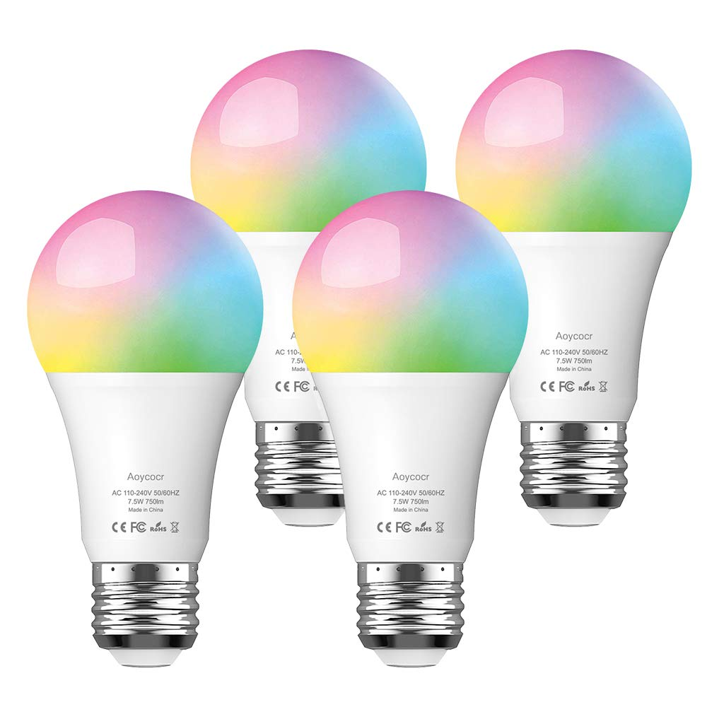 Aoycocr Smart LED Light Bulbs 75W Equivalent, Daylight (6500K) 7.5W A19, Medium Screw Base (E26), 750 Lumens, Dimmable, RGB Color Changing Dimmable, Voice Control, No Hub Required, UL Listed, 4 Pack
