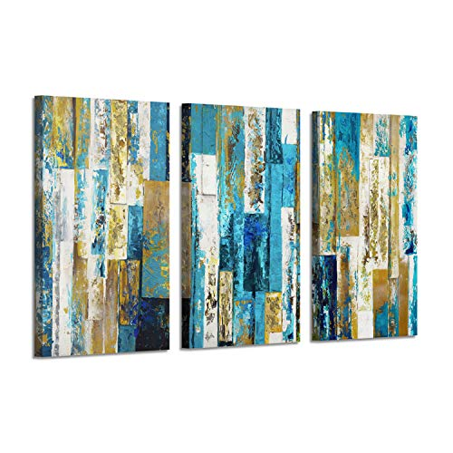 Abstract Art Cityscape Picture Print: Blue Skyline Gold Foil Painting on Canvas for Wall Decor