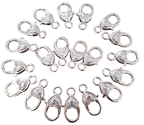 (EFK-II Supply Heart Shape Lobster Claw Clasps DIY Jewelry Findings Gold/Silver 25mm x 12mm (Silver Style A-20 Pieces))