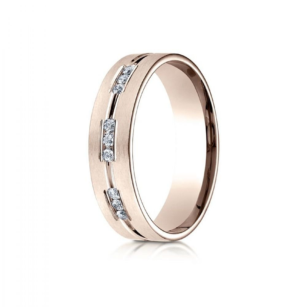 14k Rose Gold 6mm Comfort-Fit Etched Channel Set 18-Stone Diamond Eternity Ring (.36ct) - Size 4