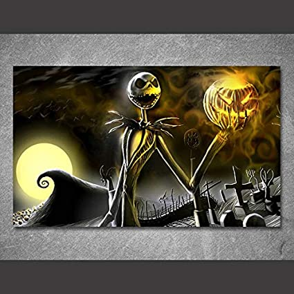 natvva 1 piece canvas art canvas painting nightmare before christmas halloween printed home decor art poster