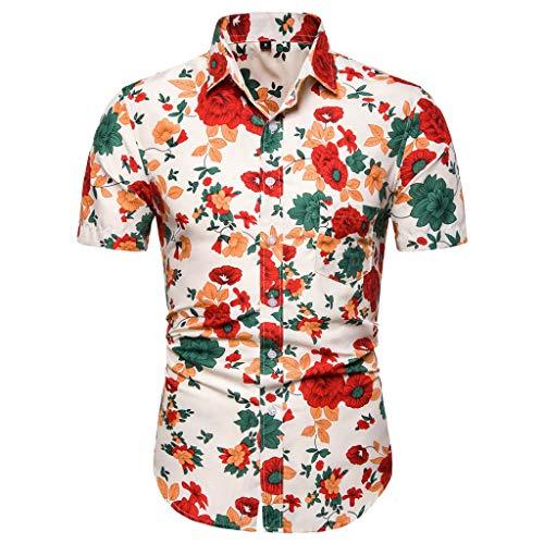 (Men's Summer Casual Slim Short Sleeve Printed Shirts Top Beach Blouse)