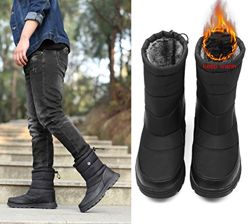 Black Boots Waterproof YIRUIYA Fur Calf Boots Women's Snow Mid with Lining WZRwvqOaTR