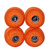4 Balls Coloured Crochet Cotton Thread-50g Per Ball- Knitting, 500Y , Crochet Cotton Thread, Size 3 (Color 4)