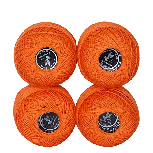 4 Balls Coloured Crochet Cotton Thread-50g Per Ball- Knitting, 500Y , Crochet Cotton Thread, Size 3 (Color 4) by LE PAON