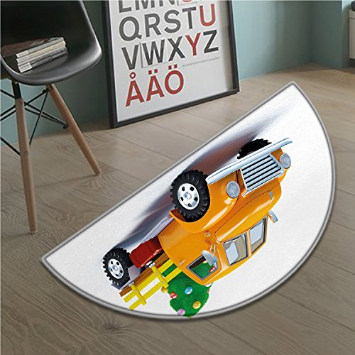 stevenhome Christmas half moon door mats for home Yellow Vintage Truck and Tree Design with Star Topper Old Farm Vehicle Bath Mat Bathroom Mat with Non Slip White Yellow - Moon Topper Door