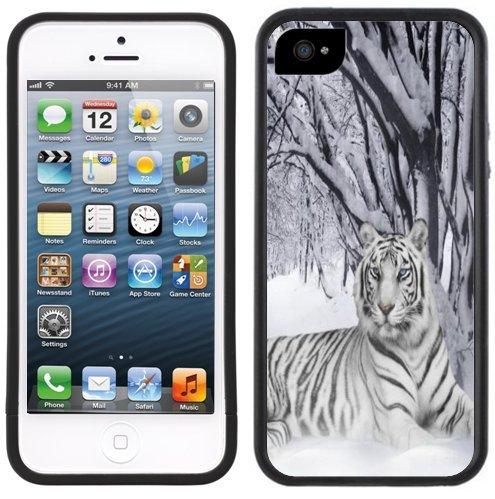 Weiße Tiger Schnee   Handgefertigt   iPhone 5 5s   Schwarze Hülle