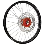 Warp 9 Complete Wheel Kit - Front 21 x 1.60 Black Rim/Orange Hub/Silver Spokes and Nipples for KTM 450 XC-W 2007-2016