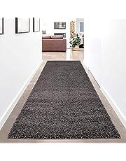 carpet city Hoogpolig tapijtloper effen - antraciet - 80x300 cm - Shaggy langpolig Uni slaapkamer hal - zacht & pluizig - modern