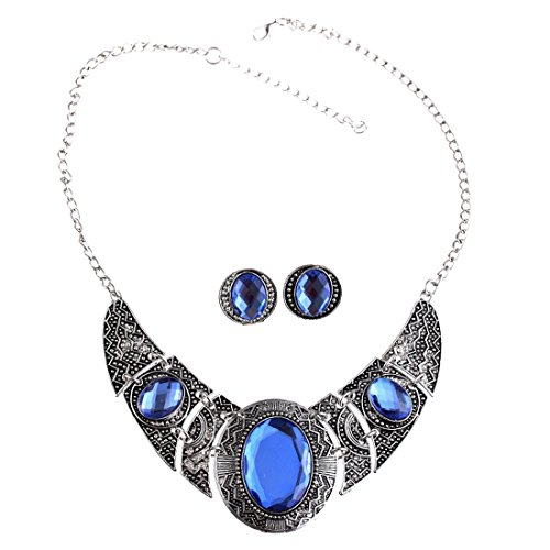 Qiyun (TM) Acrylic Royal Blue Black Tibet Silver Hollow Out Necklace Earrings Jewelry Set (Blue Necklace Earring)