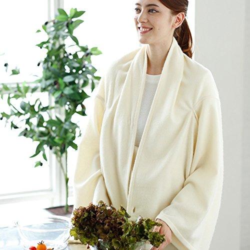 おしゃれな 部屋着 カシミヤ 着る毛布 フリーサイズ 無染色(白) B076PXJ61Z 無染色(白) 無染色(白)