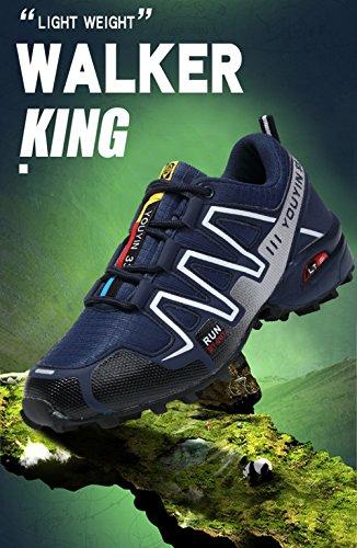 JEDVOO Zapatillas de Senderismo Zapatos para Correr en Montaña y Asfalto Aire Libre y Deportes Zapatillas de Running para Hombre Azul