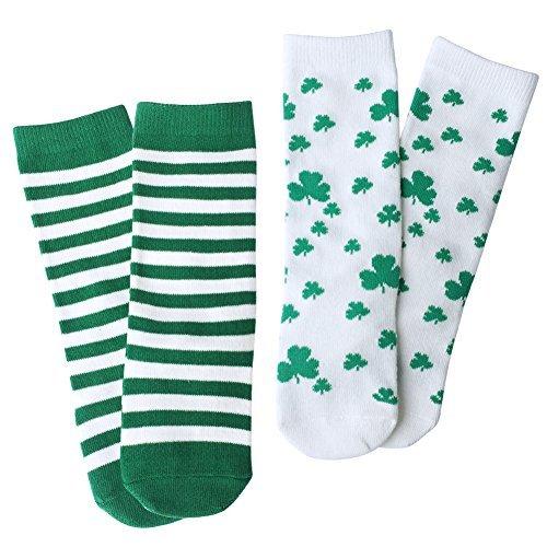 OLABB St. Patrick's Day Baby Toddler knee high socks Shamrock / Clover Green and White Striped Gift Set 2 Packs (Toddler Boys White Knee Socks)