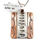 RARE $300 Retail Tag Handmade Horse Authentic Made by Robert Little Navajo Pure Silver and Copper Pendant Native American Necklace