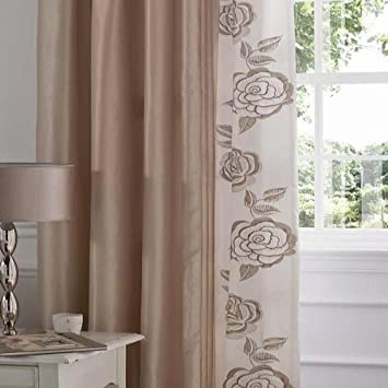 Catherine Lansfield Deco Rose Curtains, Gold
