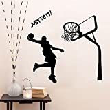 Room Decor Inspiration Wall Sticker Quotes Just Do It Removable Wall Decor Decals Basketball for Kids Boys Children Living Room Bedroom Nursery School Office,16.9 x 28.3 Inch