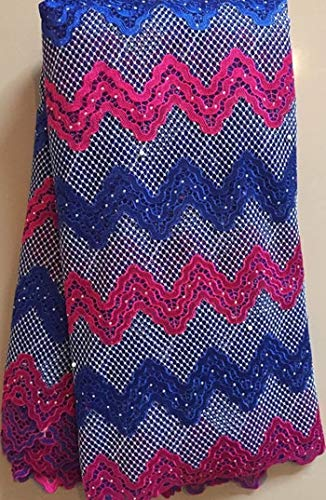 Lace - Latest African Laces Tulle Fabric Laces Nigerian Lace French Cord Lace Fabric for Women Dress HLL2841 Blue - (Color: AS Pictures)