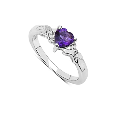 b1a9b1d86 The Amethyst Ring Collection: Beautiful Sterling Silver Heart Shaped  Amethyst Engagement Ring & Diamond Set Shoulders,Mother's Day Gift Ring  Size H,I,J,K,L ...