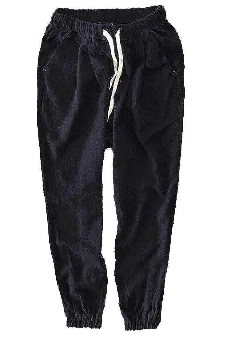 YUNY Men Waistband Stretchy Causal Drawstring Flax Pocket Straight Pants Black M