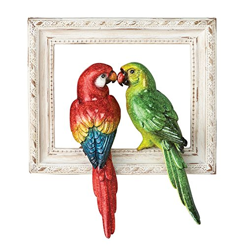 Framed 3 Dimensional Tropical Parrots Wall