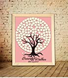 Susie85Electra Country Tree Wedding Guest Book Alternative Rustic Personalized Wooden Frame Wedding Guestbook Sign for Wedding Gifts