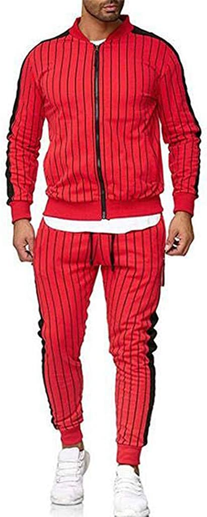 Mens Joggers Tracksuit Set Slim Fit Limsea Hooded Athletic Full Zip Casual Sweat Suits Sportwear
