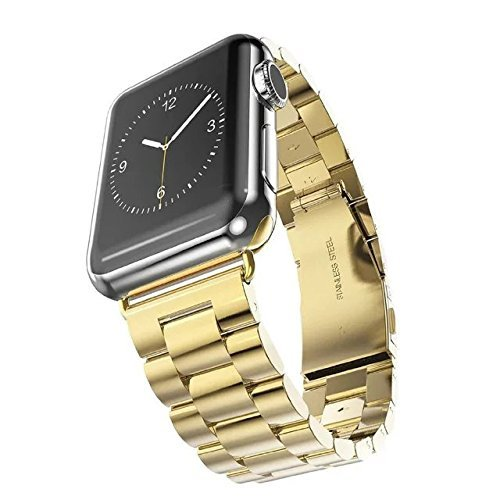 - For Apple Watch Band 42mm Fwheel Stainless Steel Metal Replacement Smart Watch Band Bracelet with Double Button Folding Clasp for Apple Watch Series 1 Series 2 Series 3 All Models (Gold 42mm)