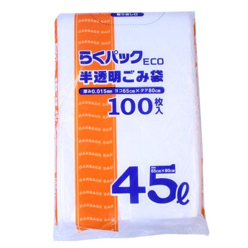 日本技研工業 らくパックECO 半透明ごみ袋45L100P