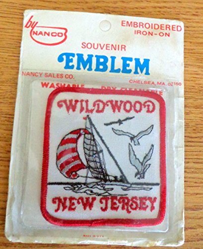 Vintage WILDWOOD NJ Embroidered PATCH Vacation Sea Gulls and Sail Boat