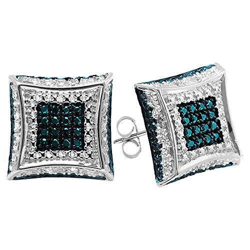 Dazzlingrock Collection 0.15 Carat (ctw) Round Blue & White Diamond Micro Pave Kite Shape Stud Earrings, Sterling ()