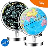 JARBO 8'/20cm Illuminated Constellation World Globe for Kids with Stand, Built-in LED Light Illuminates for Night View of Constellation, Learning Gift Detailed Globe for Kids, Powered by Battery
