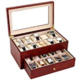 Watch Box for 20 Watches XL Extra Large Compartments Fits 65mm Soft Cushions Clearance (Burlwood)
