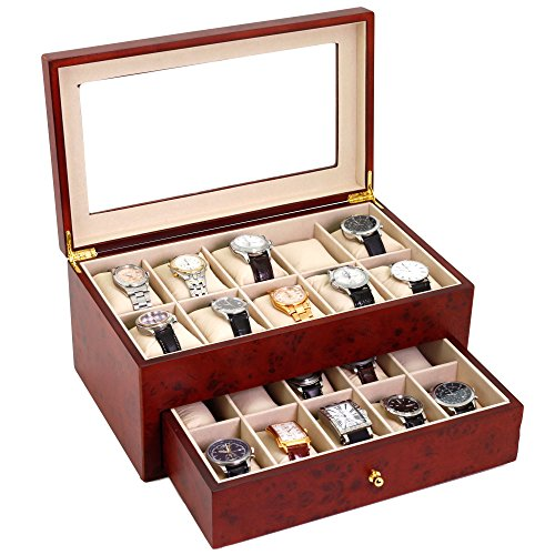 20 Watch Box Burlwood Matte Finish XXL Extra Large Compartments High Clearance Window