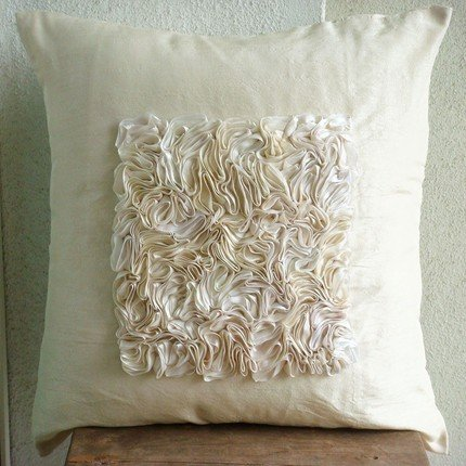 Designer Ivory Cushion Covers, Ribbon Textured Centered Pillows Cover, 16″x16″ Pillo ...