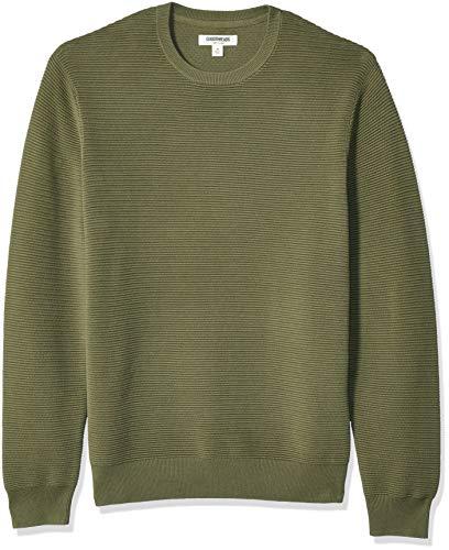 (Goodthreads Men's Soft Cotton Ottoman Stitch Crewneck Sweater, Olive X-Large)