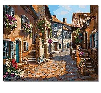 Liweixky Sans Cadre Peinture De Ville Par Numéros Bricolage Peint à