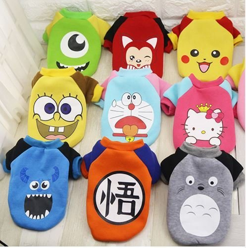 Cartoon Pet Dog Cat Clothes Apparel Autumn Winter Coat T-shirt Puppy Hoodies Pokemon Dragon ball, Hello Kitty , Spongebob (Pikachu, X-small)