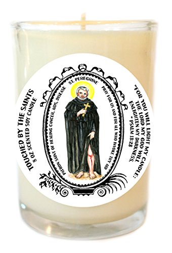 Saint Peregrine of Healing Disease 8 Oz Scented Soy Glass Prayer Candle by Touched By The Saints
