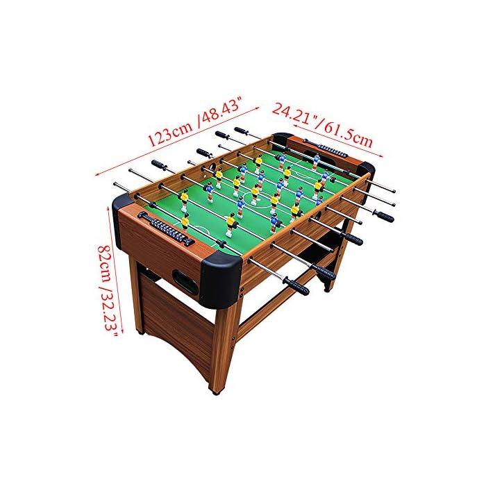 SET SET DE JUEGO VERSÁTIL: la mesa de futbolín del tamaño de una competencia brinda diversión en cualquier entorno, perfecta para salas de juegos en el hogar, salas de juegos y otras áreas de entretenimiento, brinda una mejor experiencia de juego. DISEÑO AMIGABLE PARA EL JUGADOR: cuenta con 8 filas para permitir 4 filas por equipo, 11 jugadores rojos y 11 jugadores blancos, así como un portavasos en cada extremo para mantenerse hidratado cuando la competencia se calienta. H MANIJAS ECONÓMICAS: Las barras de barra tienen agarres cómodos para controlar mejor la pelota, incluidas 2 bolas que se deslizan sobre la superficie lisa y sin fricción para esa goa ganadora del juego.