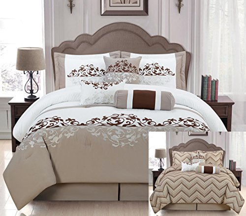 (7 Pieces Luxury Reversible Taupe, White and Brown Comforter Set / Bed-in-a-bag Queen Size Bedding)