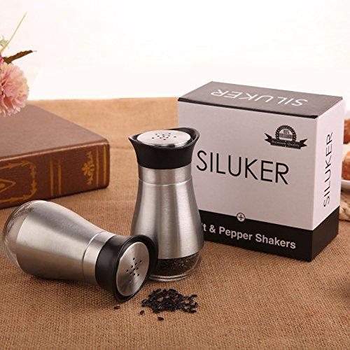 SILUKER Salt and Pepper Shakers Set - Elegant Stainless Steel with Glass Bottom - Salt Shaker - Silver(Set of 2)