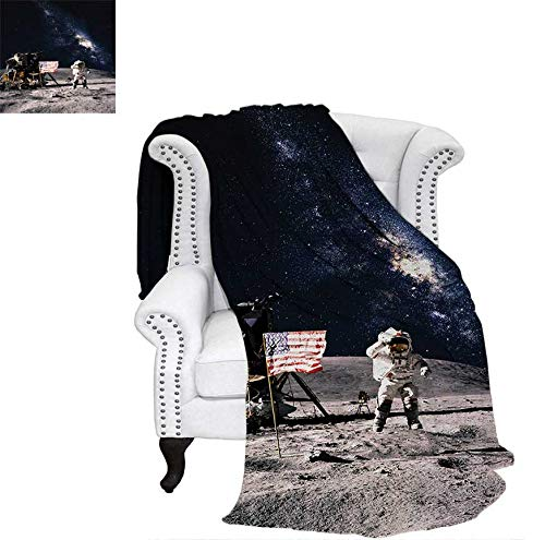 Super Soft Lightweight Blanket Astronaut on Rocky Surface of Moon American Flag USA Rocket Traveling Space Art Oversized Travel Throw Cover Blanket 60