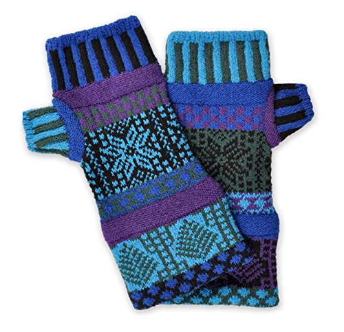 Solmate Socks, Mismatched Fingerless Mittens for Men or Women, Blue Spruce made in New England